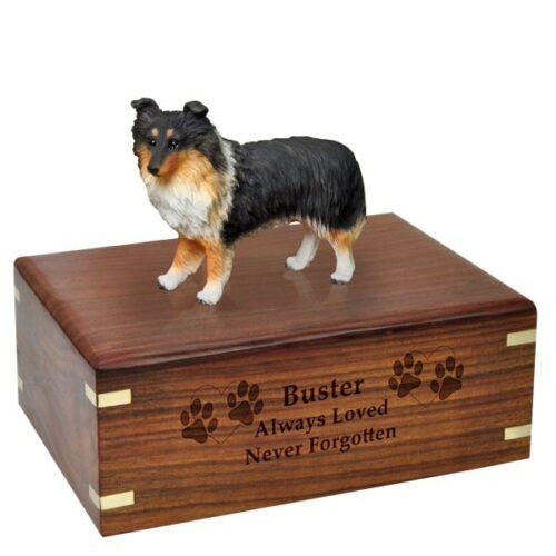Sheltie dog figurine cremation memorial urn, engraved wood