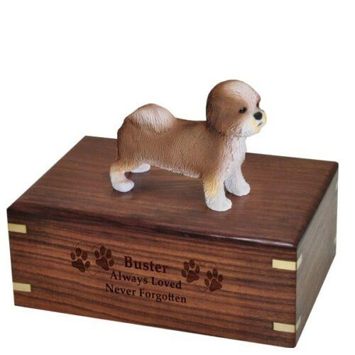 Shih Tzu, puppy cut dog figurine cremation memorial urn, engraved wood