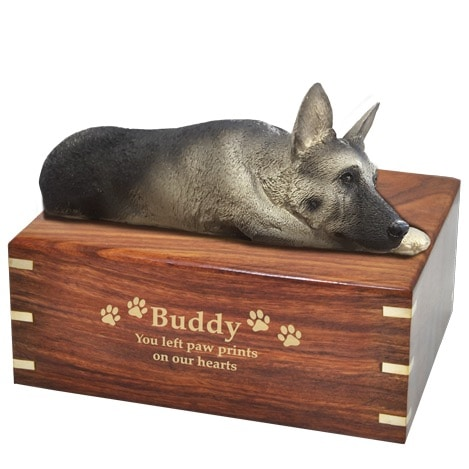Silver and Black German Shepherd dog figurine cremation urn, with engraved wood, gold fill