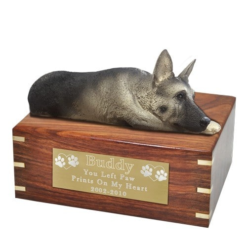 Silver and Black German Shepherd dog figurine cremation urn, with engraved plaque, large