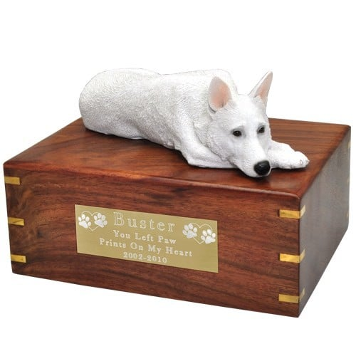 White German Shepherd dog figurine cremation urn, with engraved plaque, large