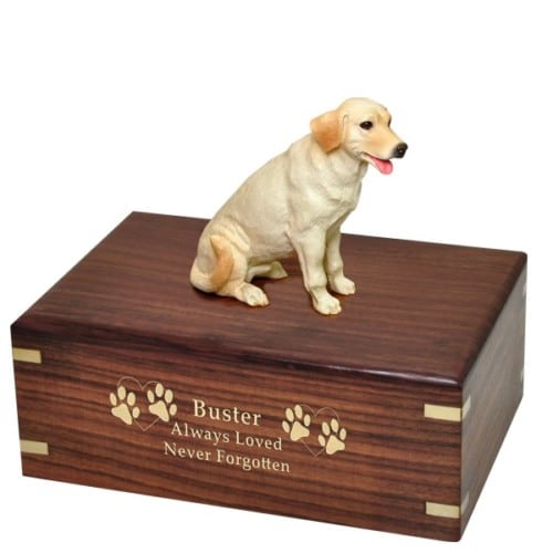 Yellow Labrador Retriever dog figurine cremation urn, with engraved wood, gold fill