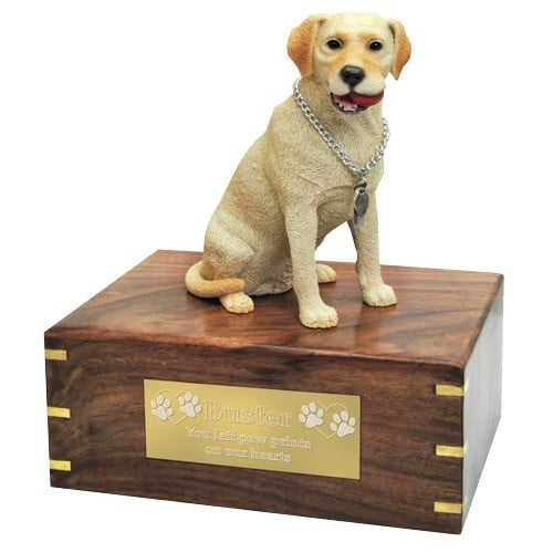 Yellow Labrador Retriever dog figurine cremation urn, with engraved plaque, large