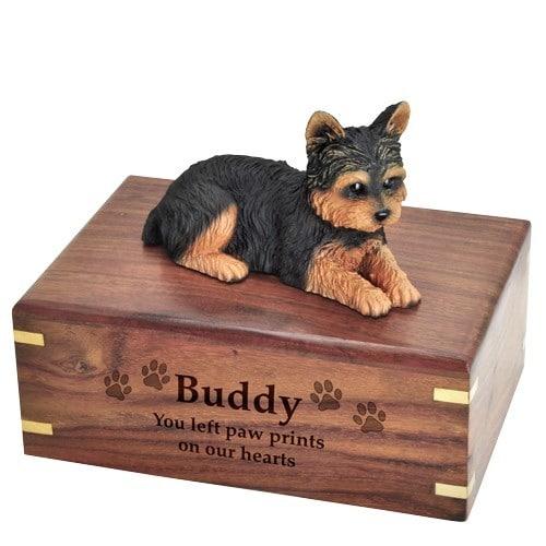 Yorkshire Terrier yorkie dog figurine cremation memorial urn, engraved wood