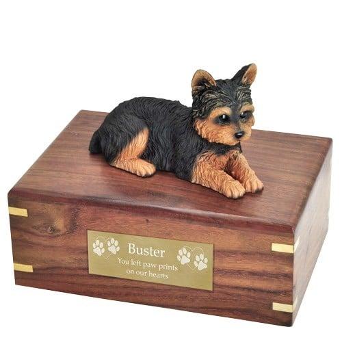 Yorkshire Terrier yorkie dog figurine cremation memorial urn, engraved plaque
