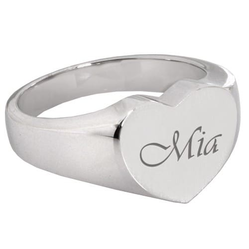 Bold Heart Memorial Cremation Ring, script engraving, sterling silver