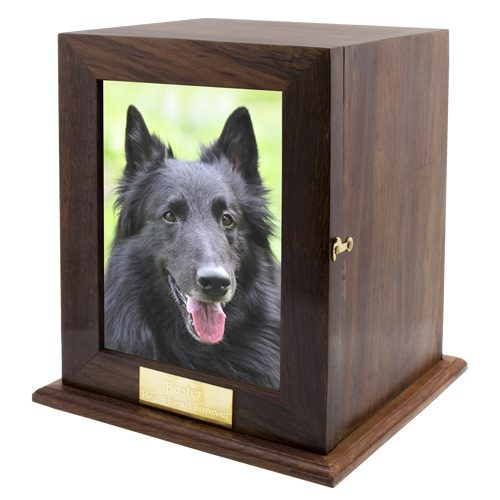 Large wood photo urn with free engraving, color photo