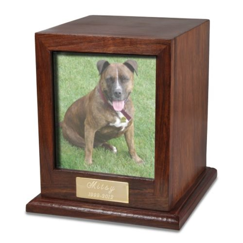 Rosewood wood cremation urn with photo holder, color dog photo