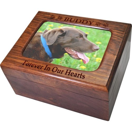 Wood memory chest pet photo urn with engraved top