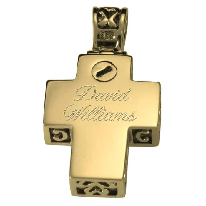 Filigree cross memorial cremation pendant, gold plated, 3121m rear, engraved