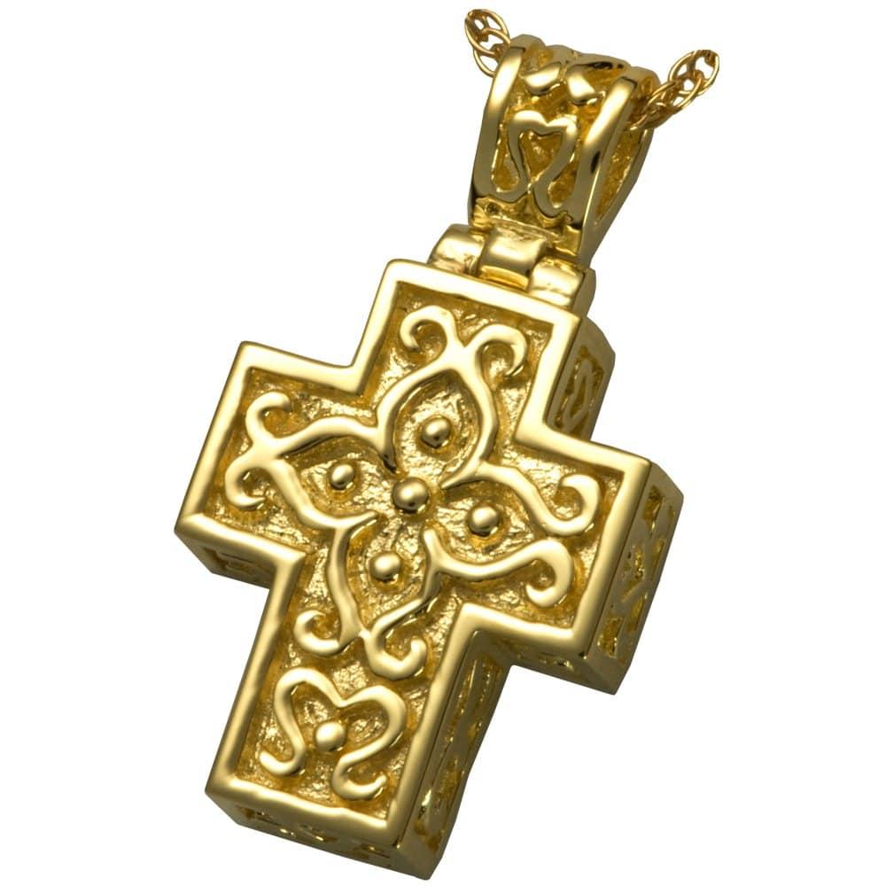 Filigree cross memorial cremation pendant, gold plated, 3121