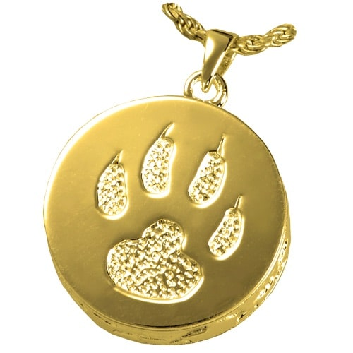 Cat Paw Memorial cremation pendant, 14k gold plated