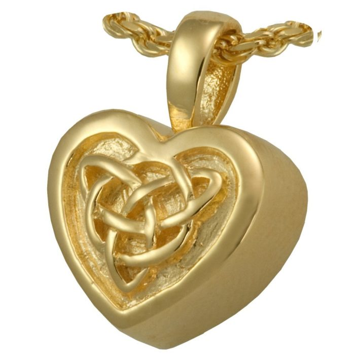 Celtic Heart memorial cremation pendant, 14k Gold Plated