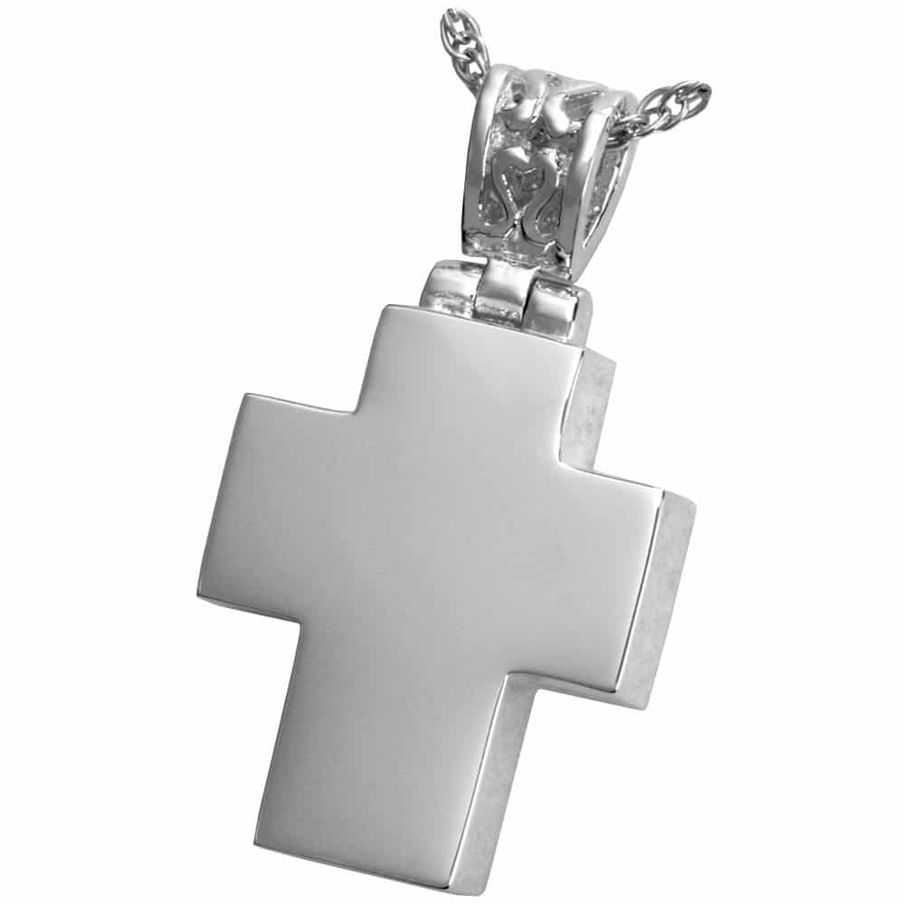 Cross with filigree bail memorial cremation pendant, sterling silver
