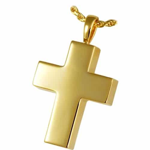 Medium Cross memorial cremation pendant, gold plate