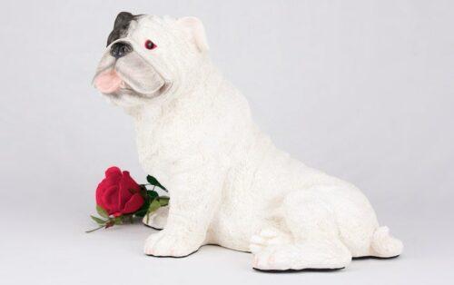 White Bulldog pet dog cremation urn figurine
