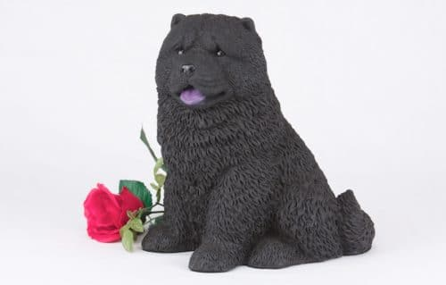Black Chow pet dog cremation urn figurine