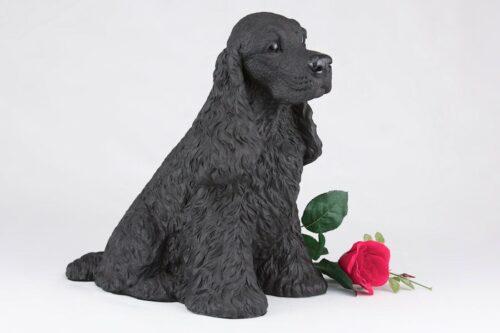 Black Cocker Spaniel pet dog cremation urn figurine