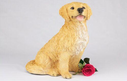 Golden Retriever pet dog cremation urn figurine
