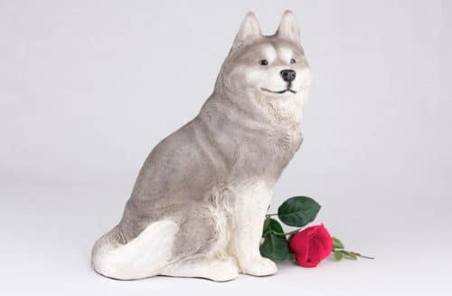 Husky pet dog cremation urn figurine