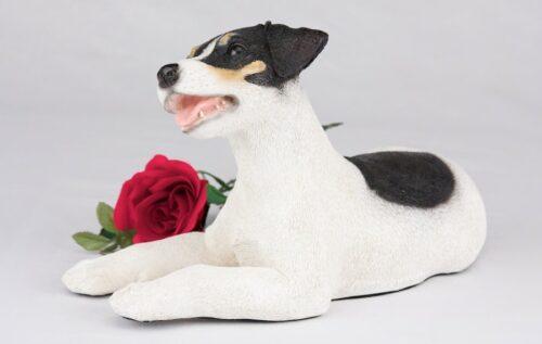 Jack Russell pet dog cremation urn figurine