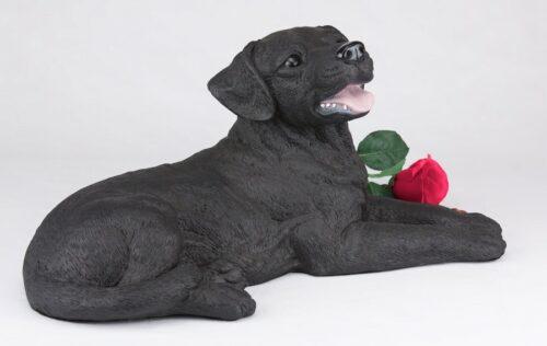 Black Lab Labrador Retriever pet dog cremation urn figurine
