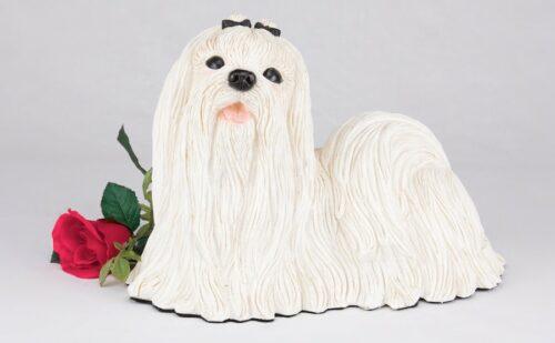 Maltese pet dog cremation urn figurine