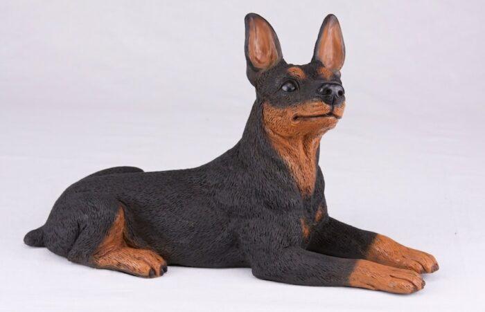 Miniature Pinscher Min Pin pet dog cremation urn figurine