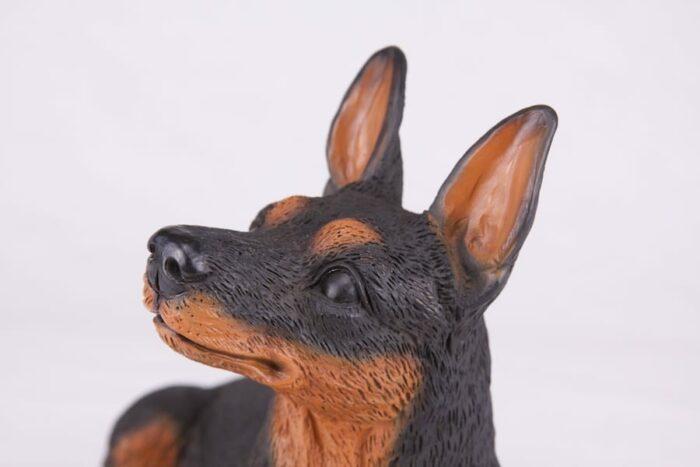 Miniature Pinscher Min Pin pet dog cremation urn figurine, face