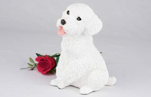 White Poodle pet dog cremation urn figurine