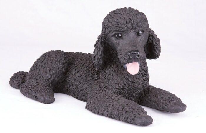 Black Poodle pet dog cremation urn figurine