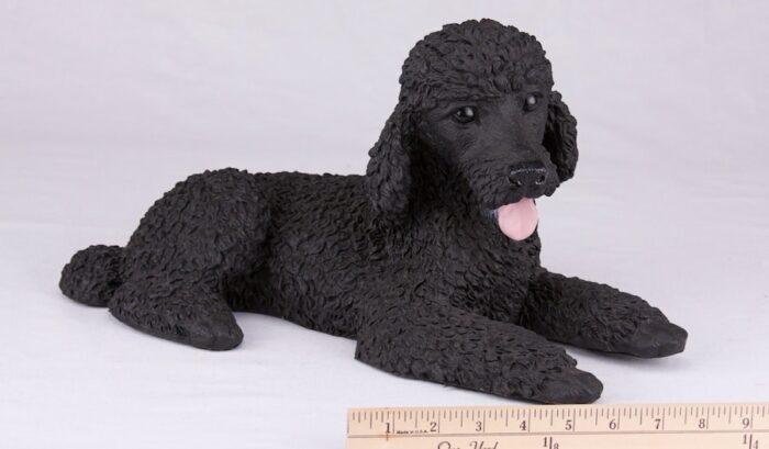 Black Poodle pet dog cremation urn figurine, with ruler