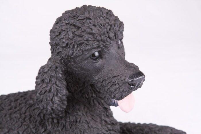 Black Poodle pet dog cremation urn figurine, face