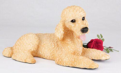 Tan Poodle pet dog cremation urn figurine