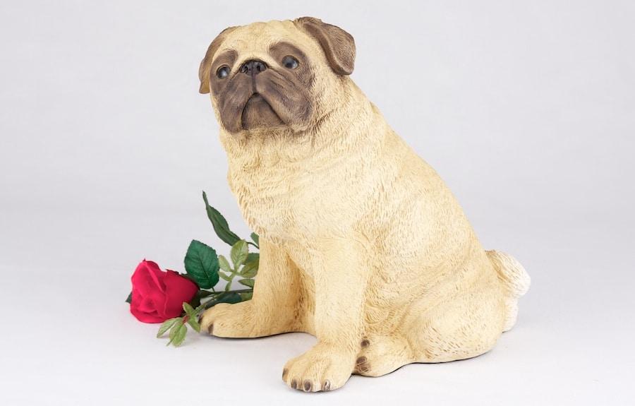 Pug pet dog cremation urn figurine