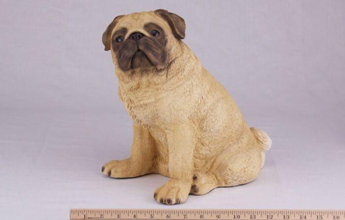 Pug pet dog cremation urn figurine, with ruler