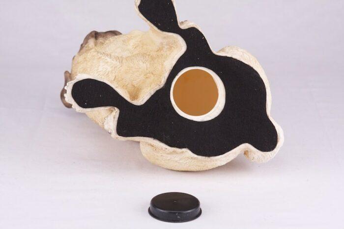 Pug pet dog cremation urn figurine, bottom