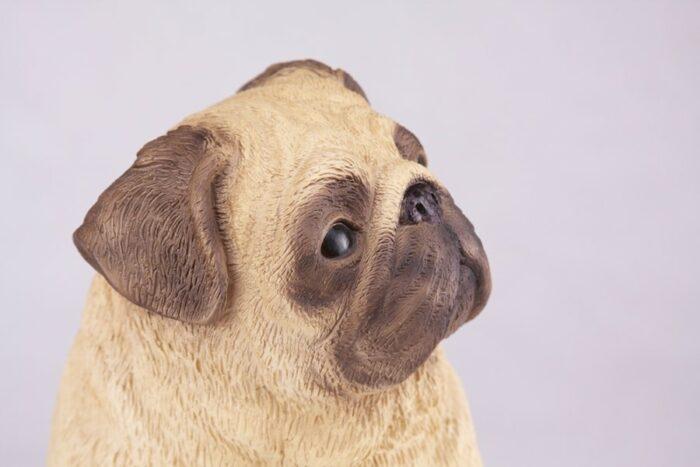 Pug pet dog cremation urn figurine, face