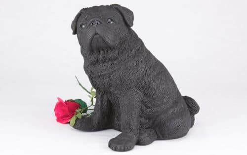 Black Pug pet dog cremation urn figurine