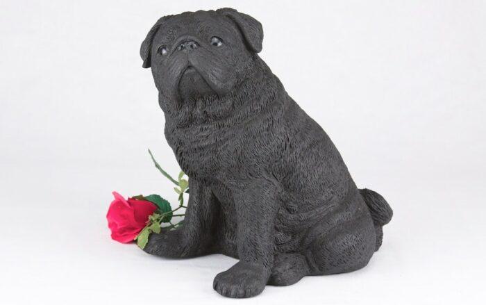 Black Pug pet dog cremation urn figurine