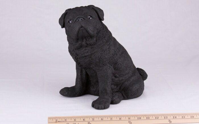 Black Pug pet dog cremation urn figurine, with ruler