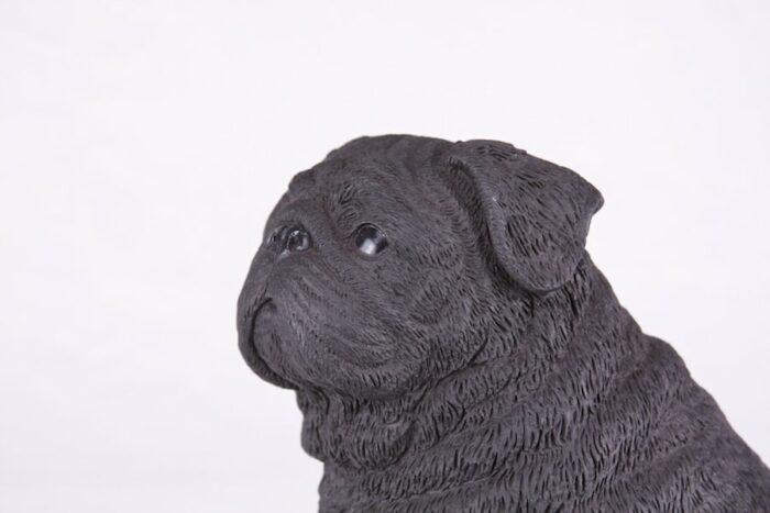 Black Pug pet dog cremation urn figurine, face