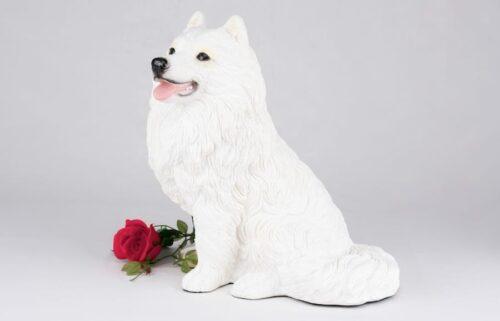 Samoyed pet dog cremation urn figurine