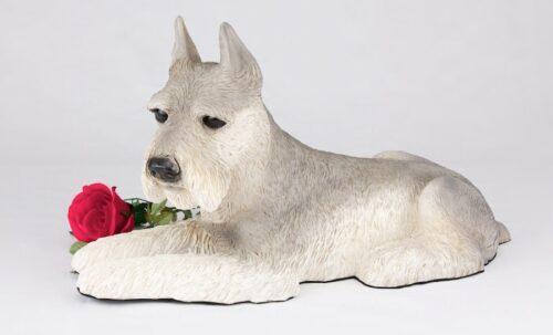 Schnauzer pet dog cremation urn figurine, ears up