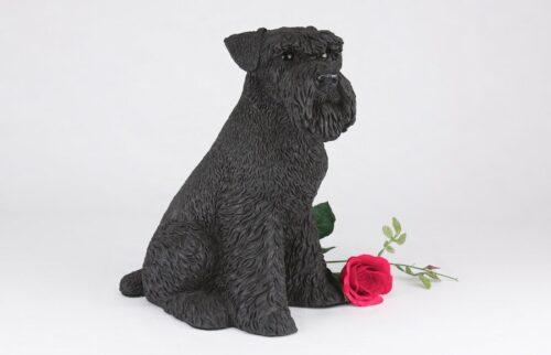 Black Schnauzer pet dog cremation urn figurine
