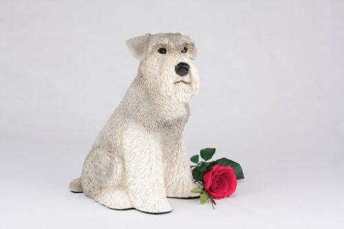 Schnauzer pet dog cremation urn figurine