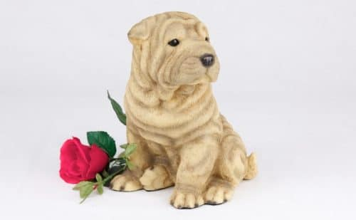 Shar Pei pet dog cremation urn figurine