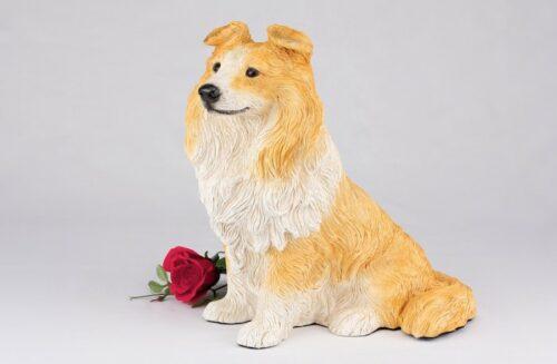 Shetland Sheepdog Sheltie pet dog cremation urn figurine