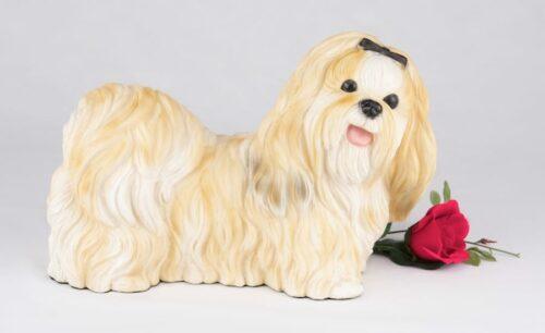 Shih Tzu pet dog cremation urn figurine