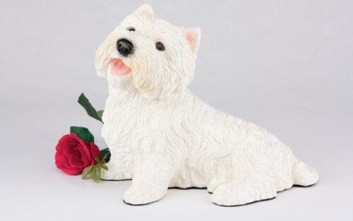 Westie Terrier pet dog cremation urn figurine